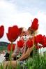 Oskarp förgrund. Förgrunden i denna bild hjälper till att skapa ett djup, samtidigt som de röda tulpanerna stärker den kärleksfulla stämningen.